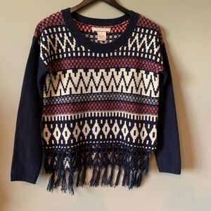 Flying Tomato Crop High Low Sweater with Fringe